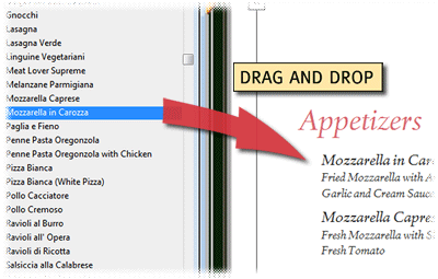menu software drag and drop