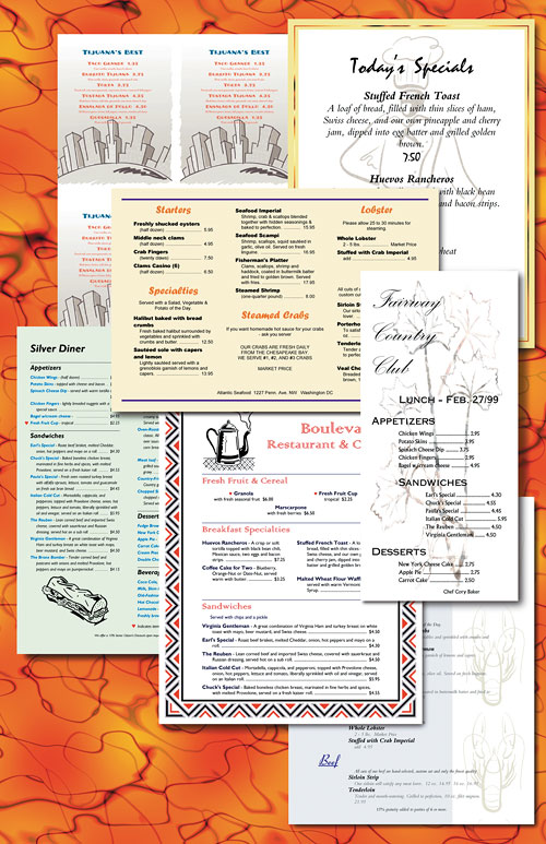 Sample Food Menu Designs